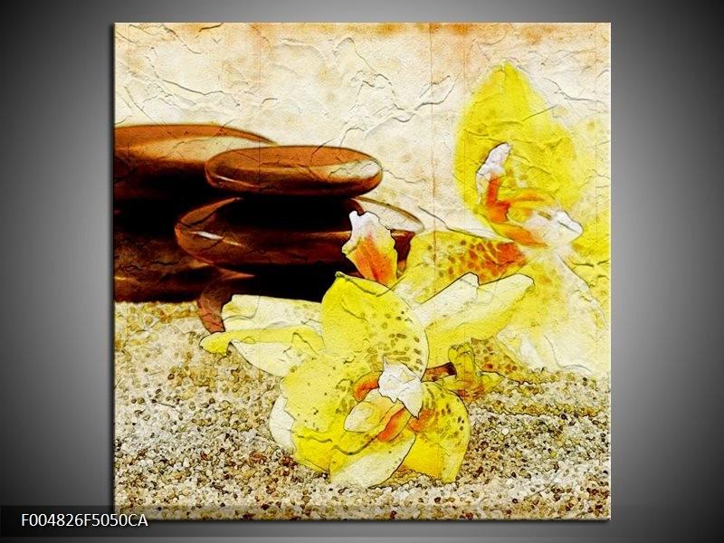 Canvas ART schilderij Spa | Geel, Bruin, Wit | 50x50cm 1Luik