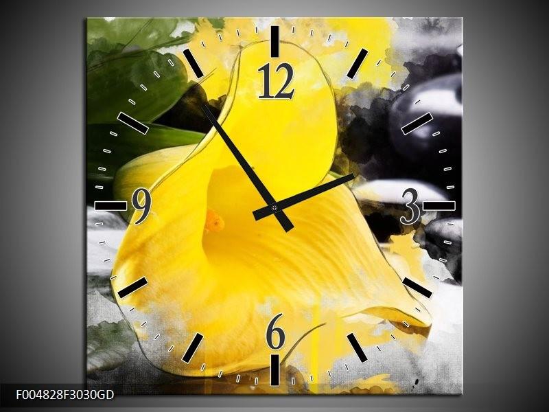 Wandklok op Glas Bloem   Kleur: Geel, Zwart, Groen   F004828CGD
