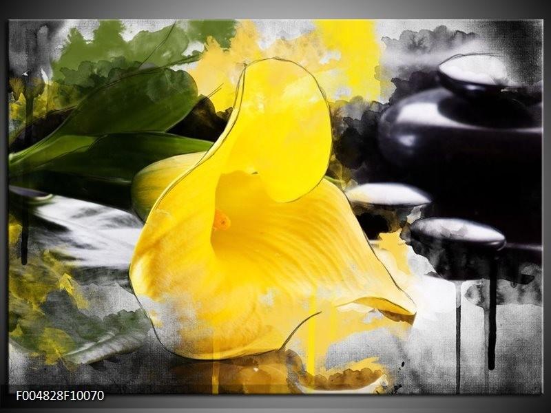 Glas schilderij Bloem | Geel, Zwart, Groen
