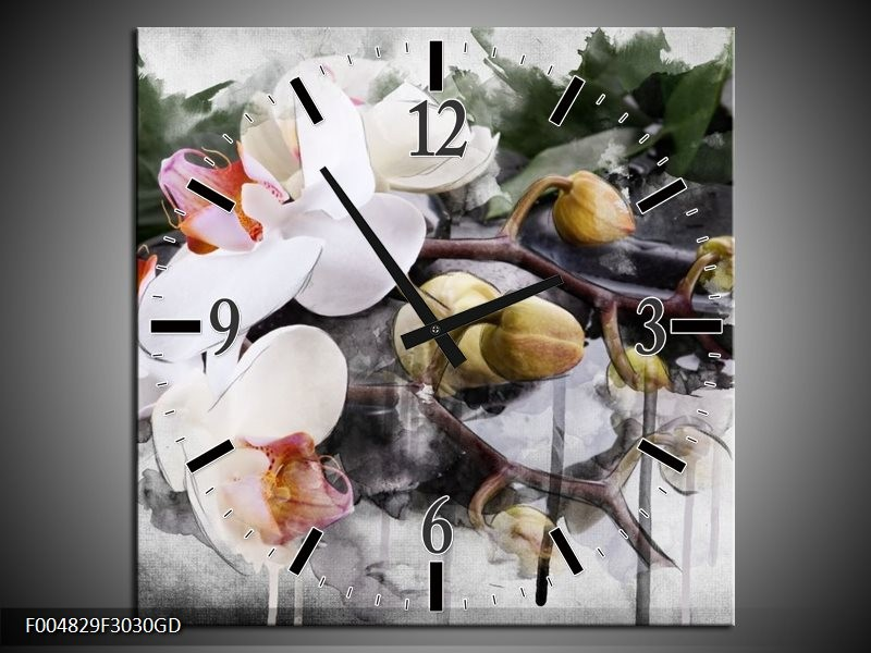 Wandklok op Glas Orchidee | Kleur: Wit, Grijs | F004829CGD