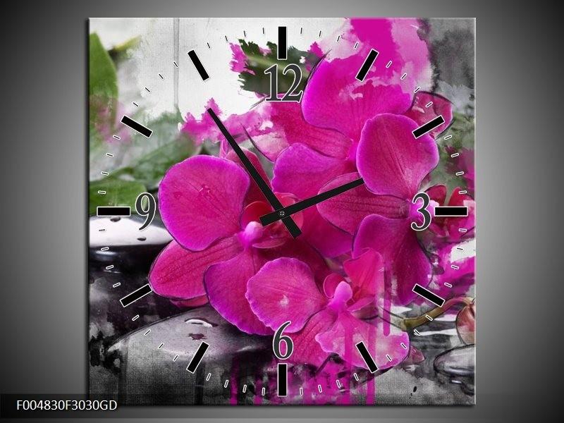 Wandklok op Glas Orchidee | Kleur: Paars, Groen, Grijs | F004830CGD