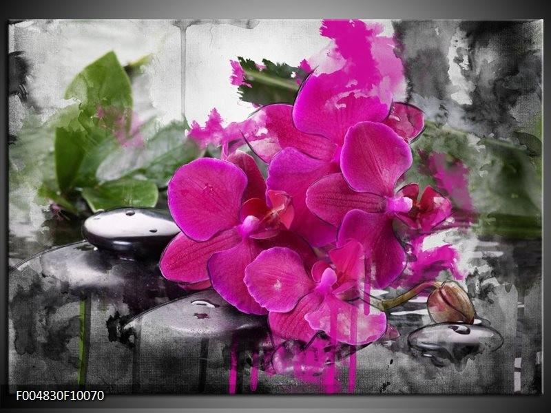 Glas schilderij Orchidee | Paars, Groen, Grijs