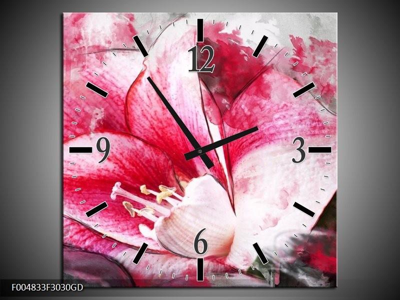Wandklok op Glas Bloem | Kleur: Roze, Wit, Grijs | F004833CGD