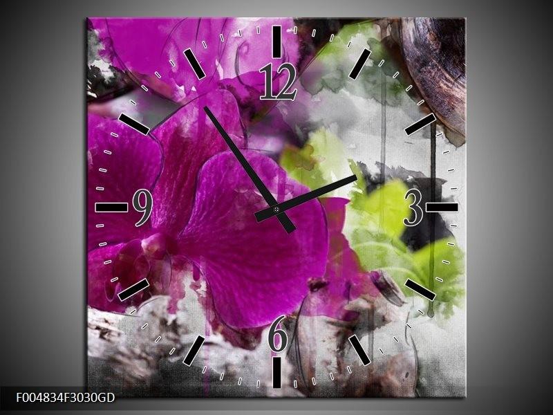 Wandklok op Glas Bloem | Kleur: Paars, Groen, Grijs | F004834CGD