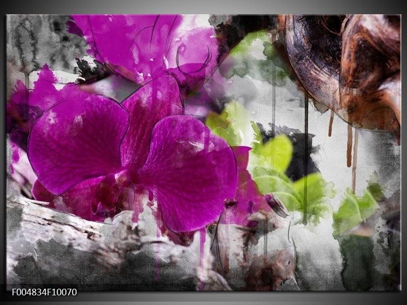 Glas schilderij Bloem | Paars, Groen, Grijs