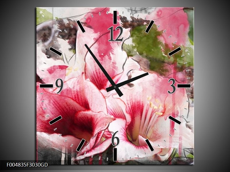 Wandklok op Glas Bloem | Kleur: Roze, Wit, Grijs | F004835CGD