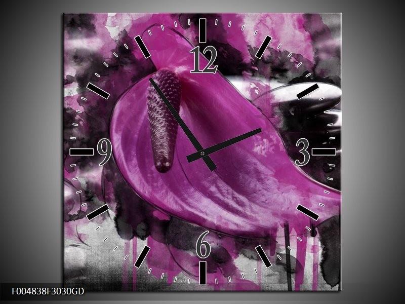 Wandklok op Glas Bloem | Kleur: Paars, Grijs, Wit | F004838CGD