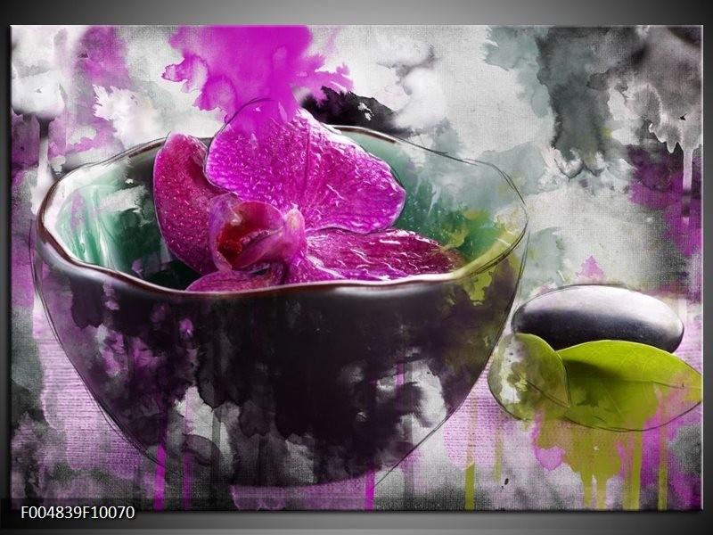 Glas schilderij Bloem | Paars, Grijs, Wit