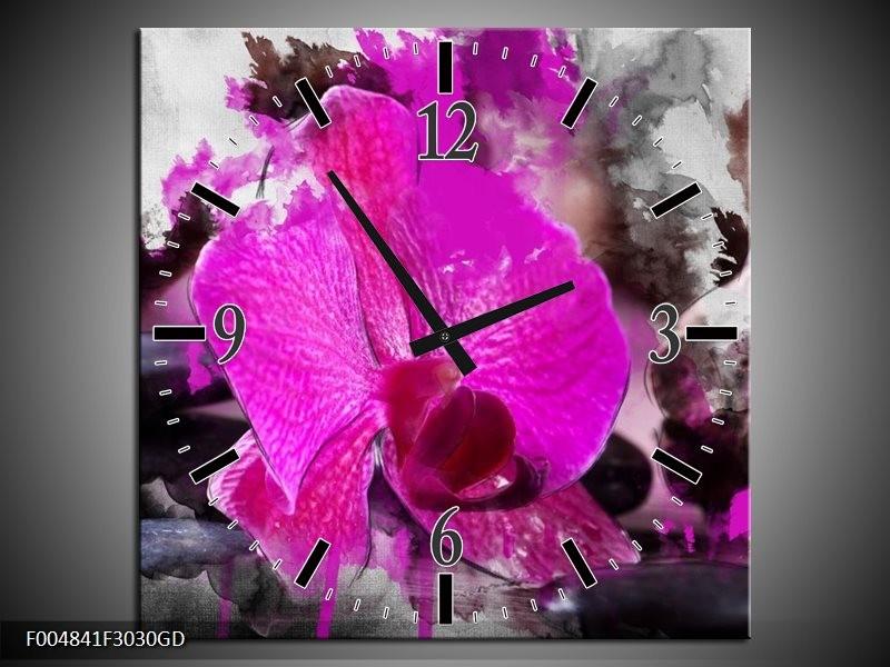 Wandklok op Glas Orchidee | Kleur: Paars, Zwart, Grijs | F004841CGD