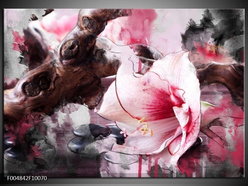 Glas schilderij Bloem   Rood, Grijs, Wit