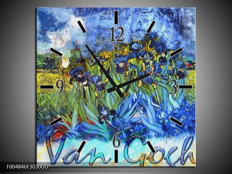 Wandklok op Glas Klassiek | Kleur: Blauw, Geel, Zwart | F004846CGD