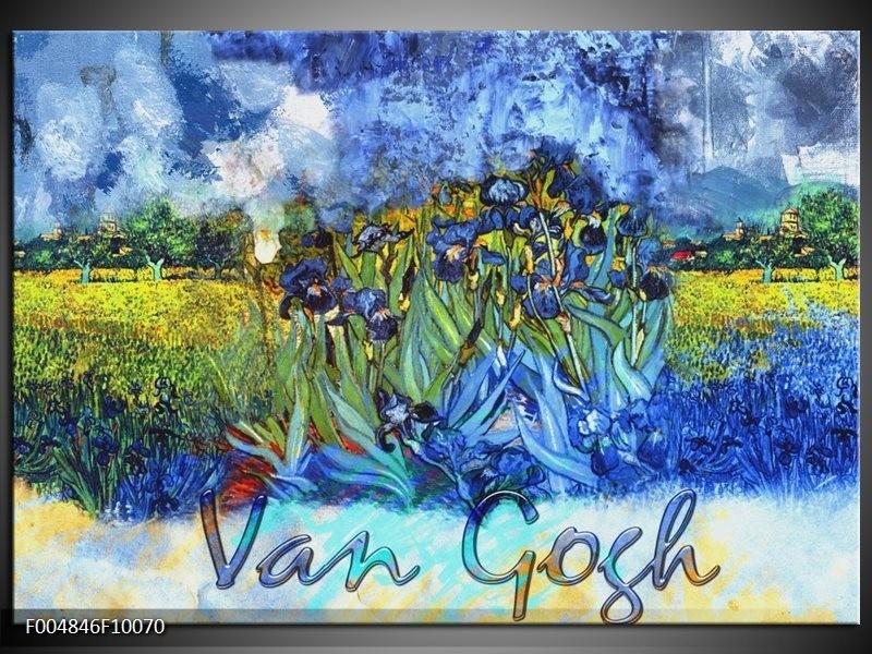 Glas schilderij Klassiek | Blauw, Geel, Zwart