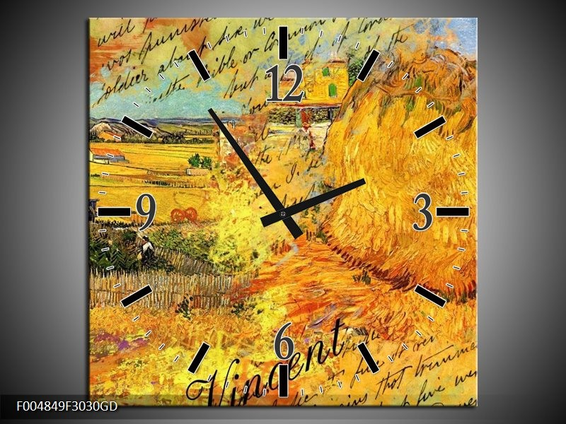 Wandklok op Glas Klassiek | Kleur: Geel, Bruin | F004849CGD