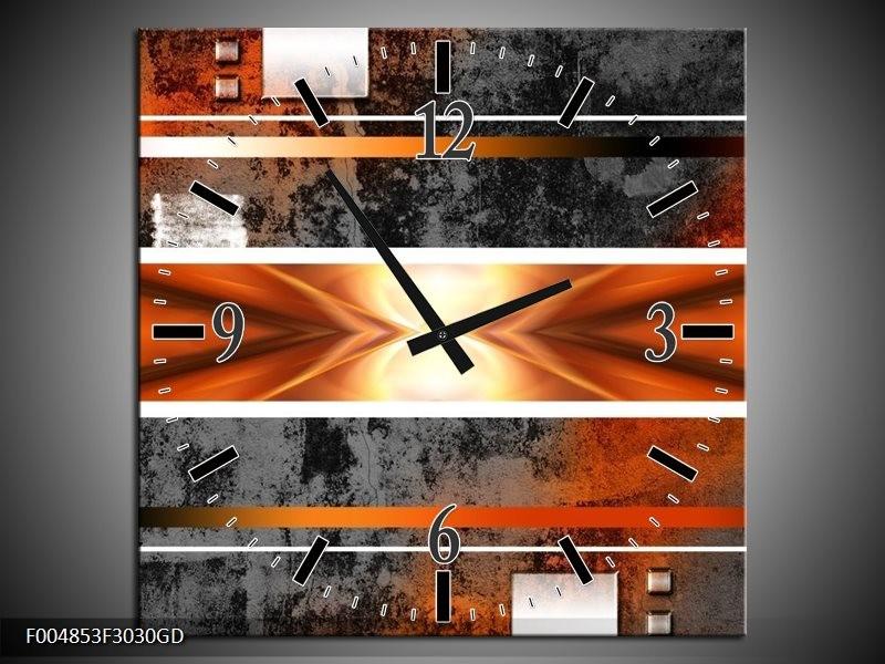 Wandklok op Glas Modern | Kleur: Oranje, Bruin, Grijs | F004853CGD