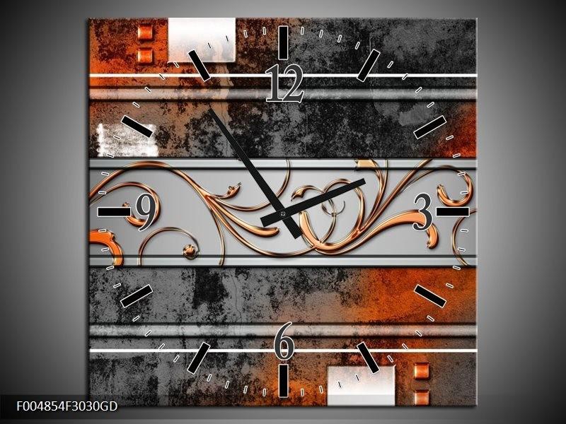 Wandklok op Glas Modern | Kleur: Oranje, Bruin, Grijs | F004854CGD