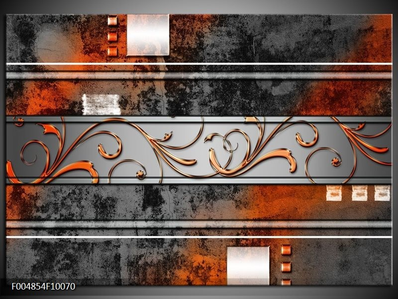 Glas schilderij Modern | Oranje, Bruin, Grijs