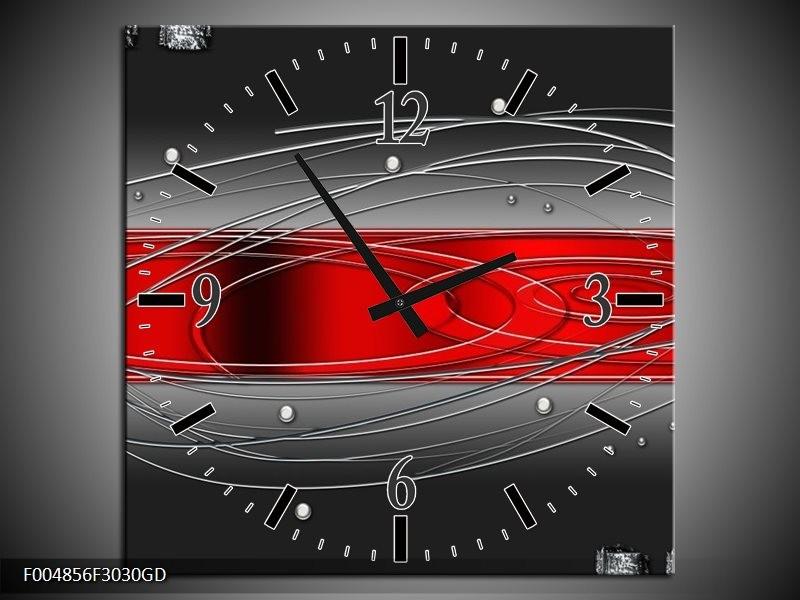 Wandklok op Glas Modern | Kleur: Rood, Grijs | F004856CGD