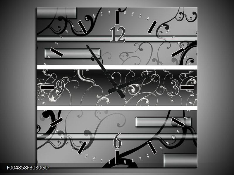 Wandklok op Glas Modern | Kleur: Grijs, Zwart, Wit | F004858CGD