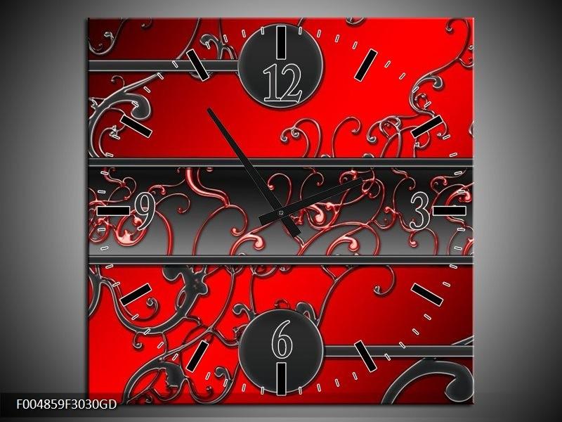 Wandklok op Glas Modern | Kleur: Rood, Zwart, Grijs | F004859CGD