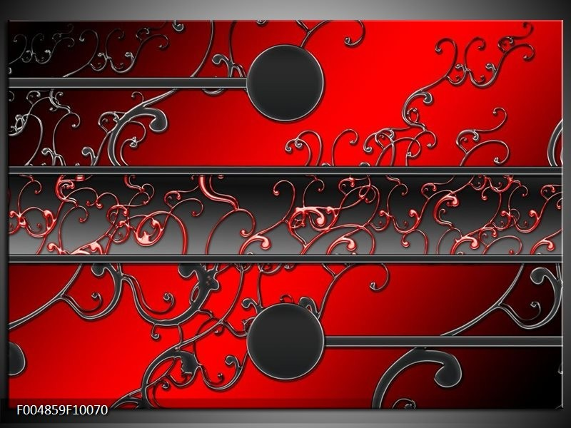 Glas schilderij Modern | Rood, Zwart, Grijs