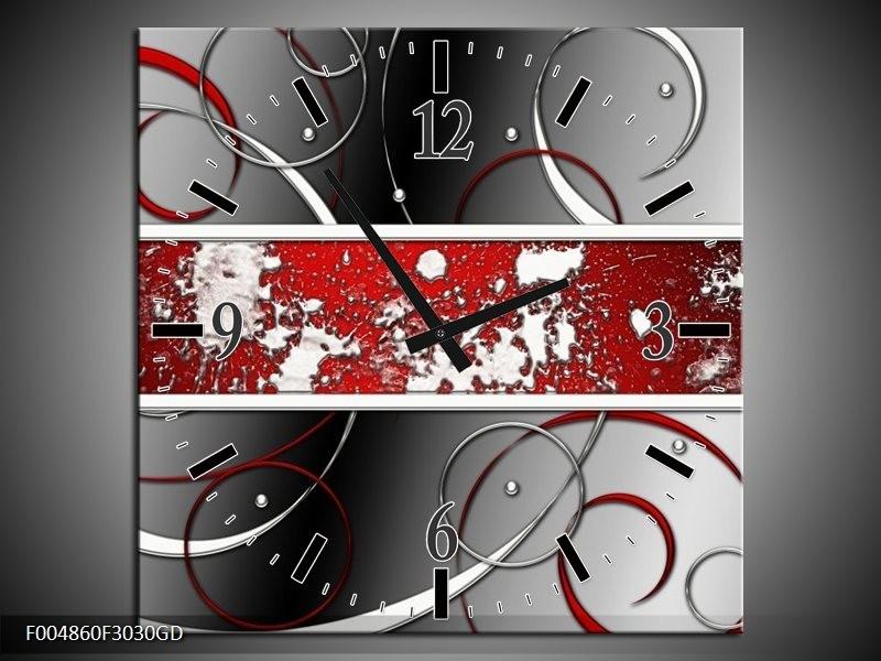 Wandklok op Glas Modern   Kleur: Grijs, Rood, Zwart   F004860CGD