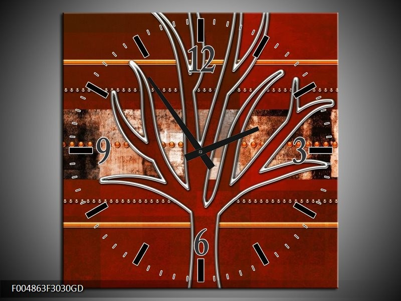 Wandklok op Glas Modern | Kleur: Bruin, Grijs, Geel | F004863CGD