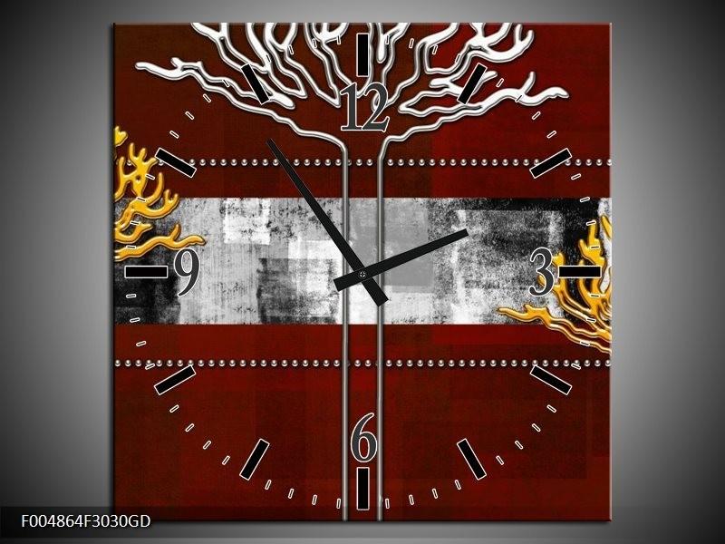 Wandklok op Glas Modern | Kleur: Bruin, Grijs, Geel | F004864CGD