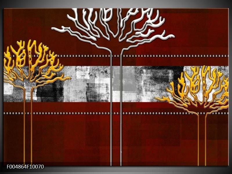 Glas schilderij Modern | Bruin, Grijs, Geel