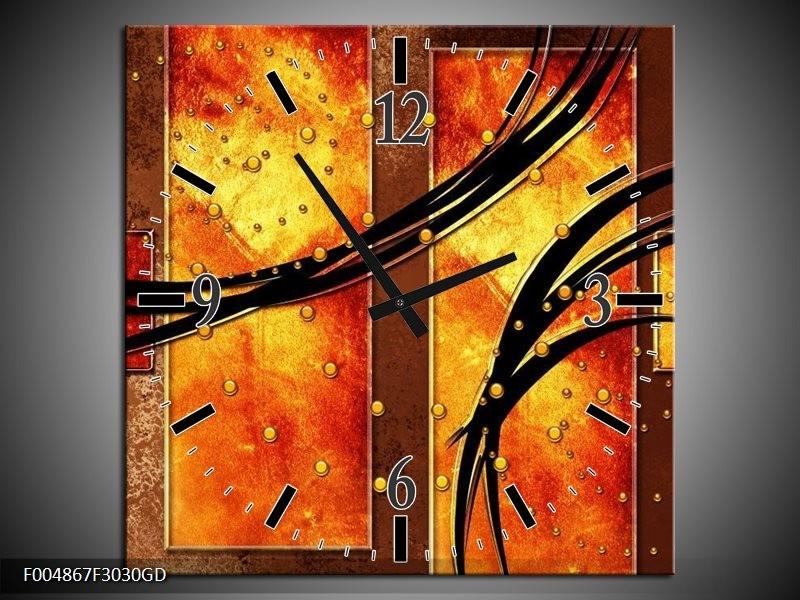Wandklok op Glas Modern   Kleur: Geel, Bruin, Zwart   F004867CGD