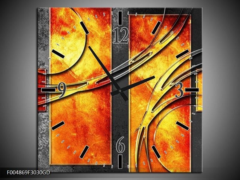 Wandklok op Glas Modern | Kleur: Geel, Grijs, Oranje | F004869CGD