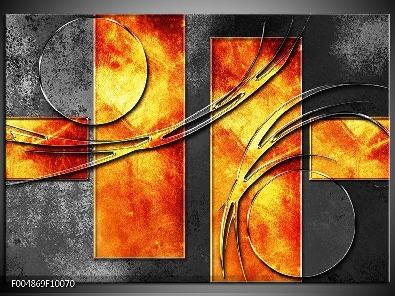 Glas schilderij Modern   Geel, Grijs, Oranje