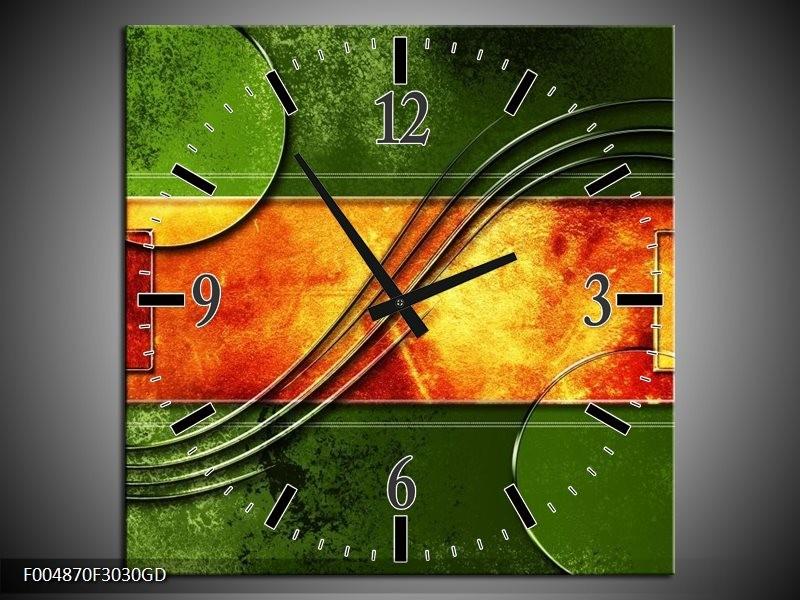 Wandklok op Glas Modern | Kleur: Oranje, Geel, Groen | F004870CGD
