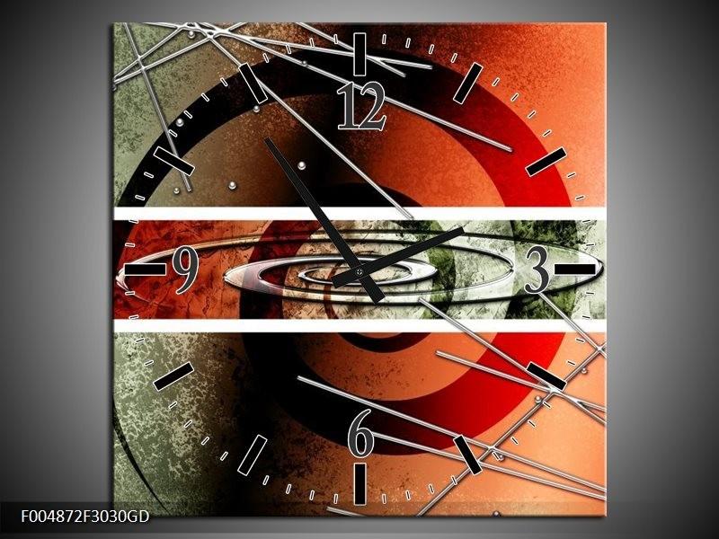 Wandklok op Glas Modern | Kleur: Rood, Grijs, Wit | F004872CGD