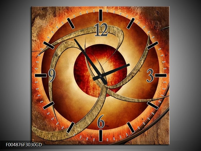 Wandklok op Glas Modern   Kleur: Bruin, Oranje   F004876CGD