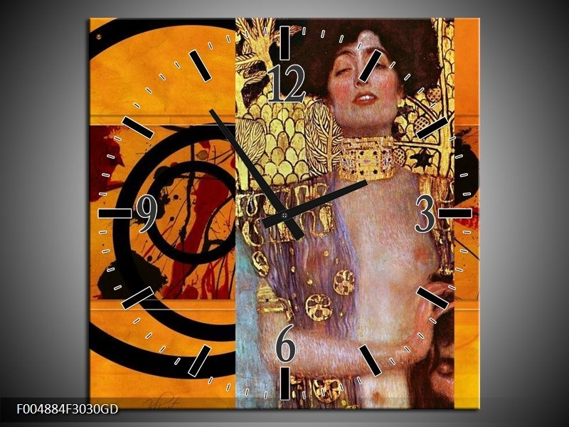 Wandklok op Glas Modern | Kleur: Geel, Bruin, Zwart | F004884CGD