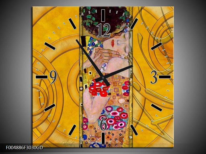 Wandklok op Glas Modern   Kleur: Geel, Roze, Rood   F004886CGD