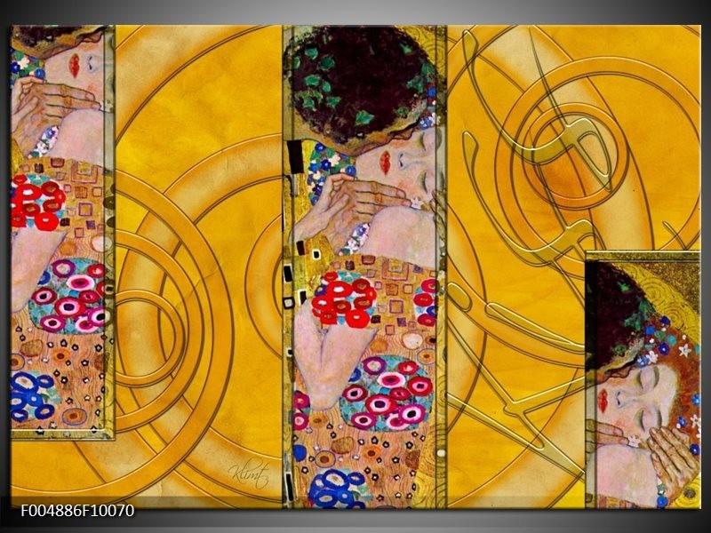 Glas schilderij Modern | Geel, Roze, Rood