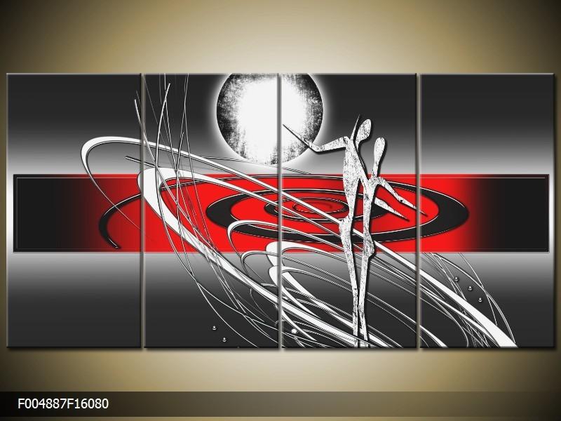 OP VOORRAAD Foto canvas schilderij Modern | Kleur: Grijs, Rood, Zwart | F004887