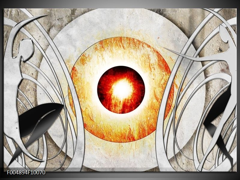 Glas schilderij Modern | Grijs, Wit, Oranje