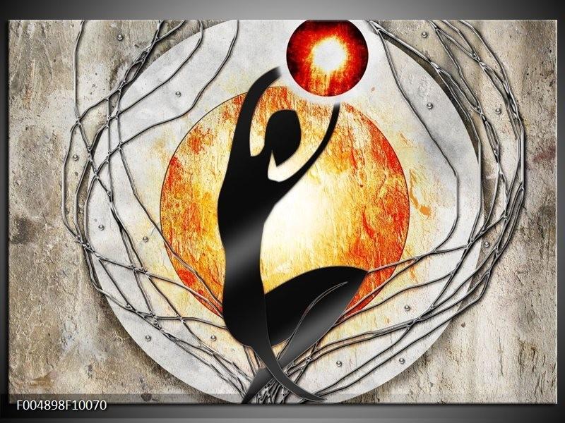 Glas schilderij Modern | Oranje, Grijs, Zwart