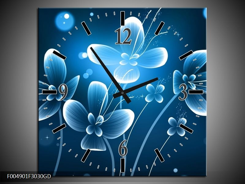 Wandklok op Glas Bloem | Kleur: Blauw, Wit | F004901CGD