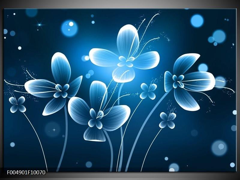 Glas schilderij Bloem | Blauw, Wit