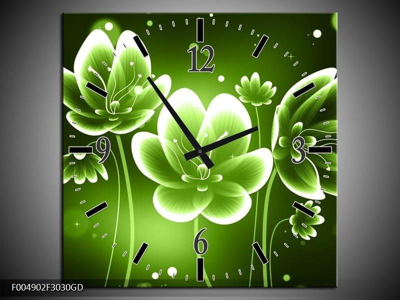 Wandklok op Glas Bloem   Kleur: Groen, Wit   F004902CGD
