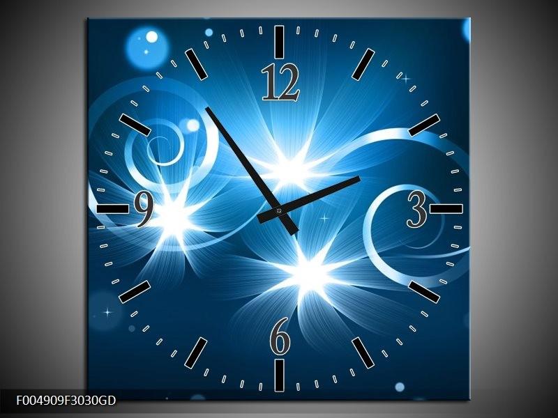 Wandklok op Glas Modern   Kleur: Blauw, Wit   F004909CGD