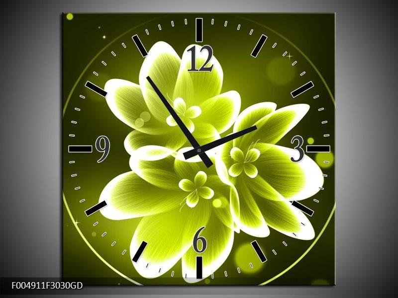 Wandklok op Glas Bloem | Kleur: Groen, Wit | F004911CGD