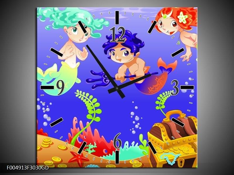 Wandklok op Glas Sprookje | Kleur: Blauw, Groen, Geel | F004913CGD