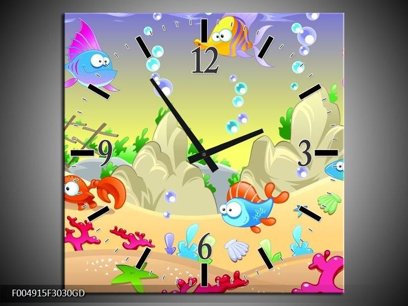Wandklok op Glas Sprookje | Kleur: Groen, Oranje, Paars | F004915CGD
