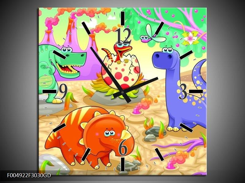 Wandklok op Glas Sprookje | Kleur: Groen, Roze, Paars | F004922CGD
