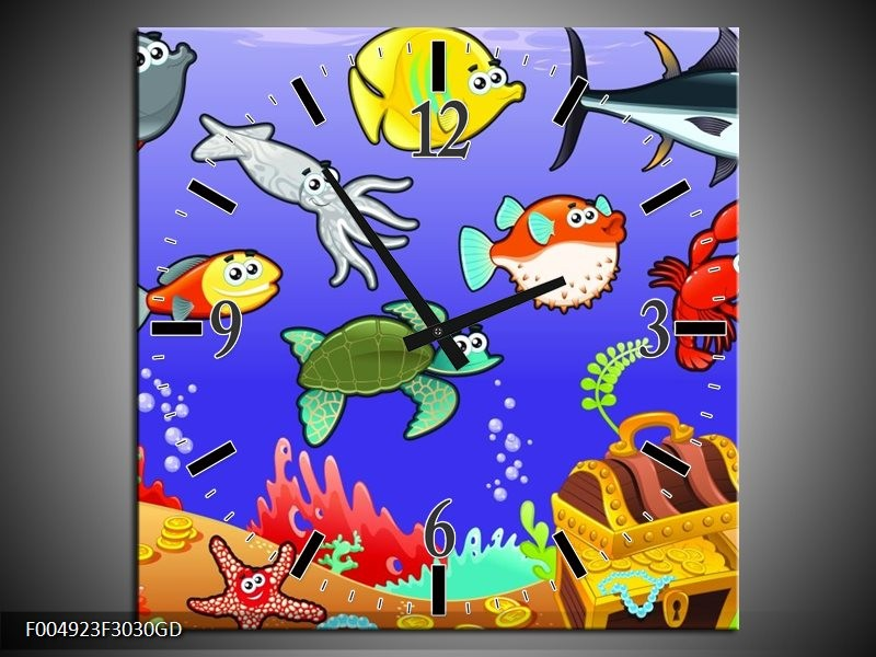 Wandklok op Glas Sprookje | Kleur: Groen, Blauw, Paars | F004923CGD