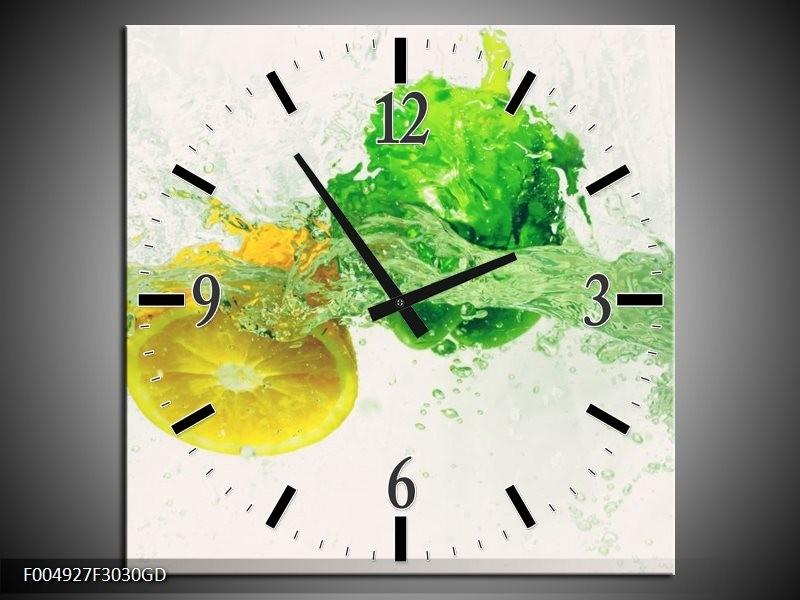 Wandklok op Glas Keuken | Kleur: Groen, Geel, Wit | F004927CGD